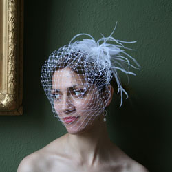 White bridal birdcage veil