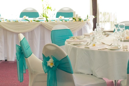 Wedding reception teal chairs arabella bridal - Deco de table mariage ...