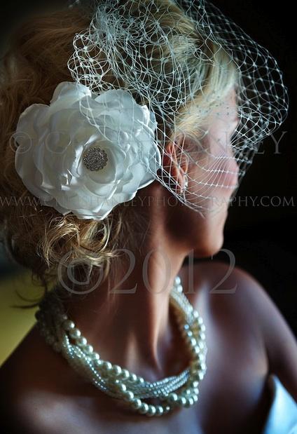 Sophie ivory flower birdcage veil