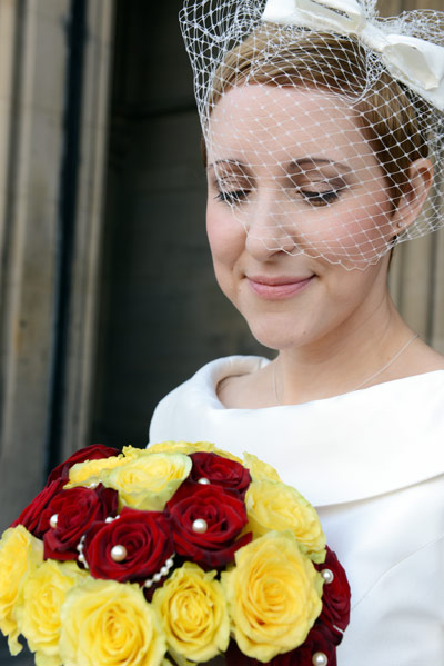 Esther ivory silk birdcage veil
