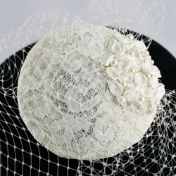 Layla ivory roses pearl birdcage veil