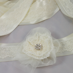 Olivia bridal belt satin ribbon lace