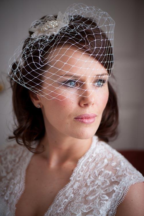 Beautiful Katharine's bespoke birdcage veil